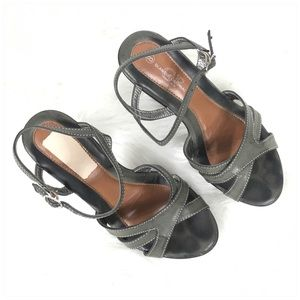 Glamour Original Shoes - Sage Green Heeled Sandals Size 8